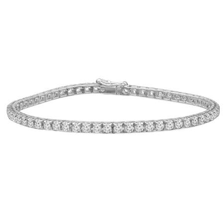 Round Cut Diamond Fashion Tennis Bracelet in White Gold - #BRACE2-W