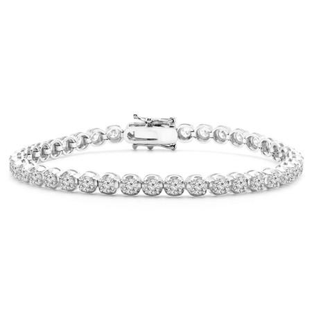 Round Cut Diamond Fashion Tennis Bracelet in White Gold - #BRACE-A1246-W