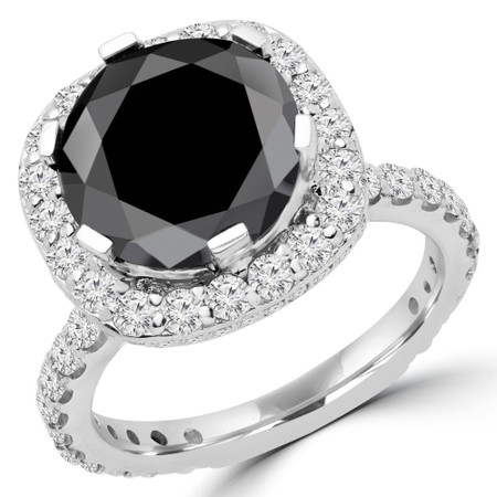 Round Cut Black Diamond Multi-Stone 6-Prong Halo Engagement Ring with Round White Diamond Accents in White Gold - #BRAVO-BLK-W