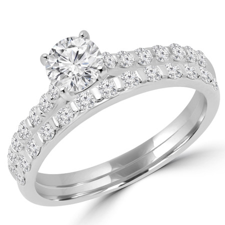 Round Cut Diamond Multi-Stone 4-Prong Engagement Ring & Wedding Band Bridal Set with Round Diamond Accents in White Gold - #CALINA-A-B-W
