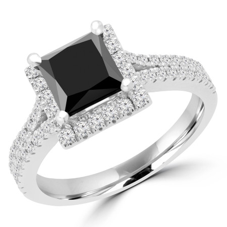 Princess Cut Black Diamond Multi-Stone 4-Prong Halo Engagement Ring with Round Diamond Accents in White Gold - #CAMILLE-BLK-W