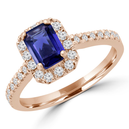 Emerald Cut Purple Iolite Multi-Stone 4-Prong Halo Engagement Ring with Round Diamond Accents in Rose Gold - #CARA-EMERALD-PURPLE-IOLITE-W