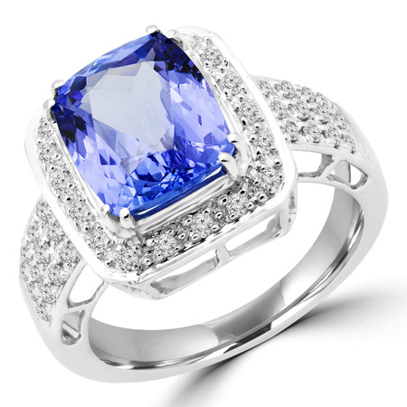 Cushion Cut Purple Tanzanite Multi-Stone 4 Double-Prong Halo Cocktail Ring with Round White Diamond Accents in White Gold - #CFQT6-CUSHION-PURPLE-TANZANITE-W