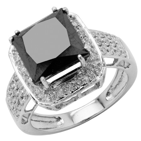 Princess Cut Black Diamond Multi-Stone 4 Double-Prong Halo Cocktail Ring with Round White Diamond Accents in White Gold - #CFQT6-PRINCESS-BLK-W