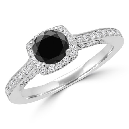 Round Cut Black Diamond Multi-Stone 4-Prong Halo Engagement Ring with Round Diamond Accents in White Gold - #CHANELLE-BLK-W