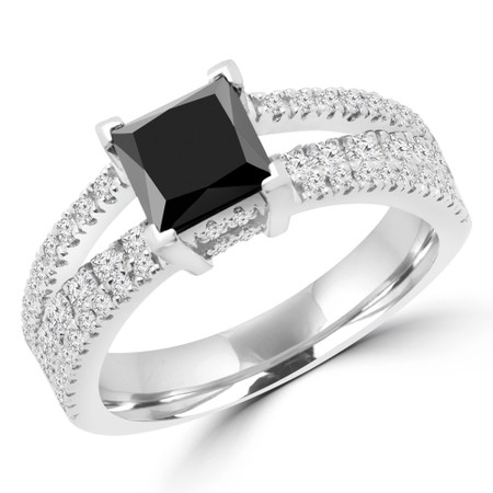 Princess Cut Black Diamond Split-Shank Multi-Stone 4-Prong Engagement Ring with Round Diamond Accents in White Gold - #DESIREE-BLK-W