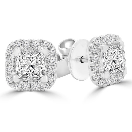 Princess Cut Diamond Multi-Stone 4-Prong Halo Stud Earrings with Round White Diamond Accents in White Gold - #E8902-PRINCESS-W