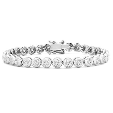 Round Cut Diamond Fashion Tennis Bracelet in White Gold - #EGHO-TUBE-W