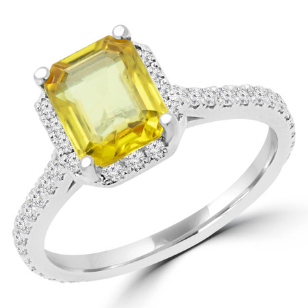 Emerald Cut Yellow Sapphire Multi-Stone 4-Prong Halo Engagement Ring with Round Diamond Accents in White Gold - #EMERALD-YEL-SAPPHIRE-W