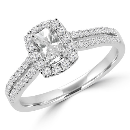 Radiant Cut Diamond Multi-Stone 4-Prong Split-Shank Two-Row Halo Engagement Ring in White Gold - #EVA-RADIANT-W