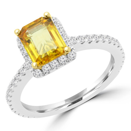 Emerald Cut Yellow Sapphire Multi-Stone 4-Prong Halo Engagement Ring with Round Diamond Accents in White Gold - #EVAN-EMERALD-YEL-SAPPHIRE-W