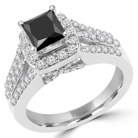 Princess Cut Black Diamond Multi-Stone 4-Prong Split-Shank Vintage Halo Engagement Ring with Round Diamond Accents in White Gold - #FRCF5270-PR-BLK-W