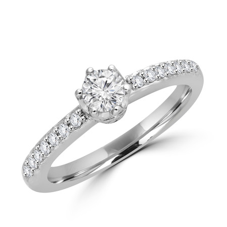 Round Cut Diamond Multi-Stone 6-Prong Engagement Ring in White Gold - #FROH5681-W