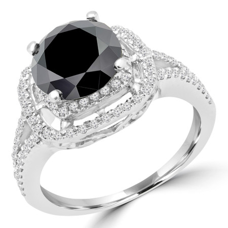 Round Cut Black Diamond Multi-Stone 4-Prong Double Halo Engagement Ring with Round Diamond Accents in White Gold - #FRTH6916-BLK-W