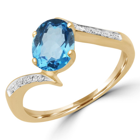 Oval Cut Blue Topaz Multi-Stone 4-Prong Engagement Bypass Ring with Round Diamond Accents in Yellow Gold - #GNFX22-BLUE-Y