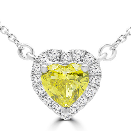 Heart Cut Yellow Diamond Multi-Stone Pendant Necklace with Round White Diamond Accents with Chain in White Gold - #HALOHEART-YELLOW-W