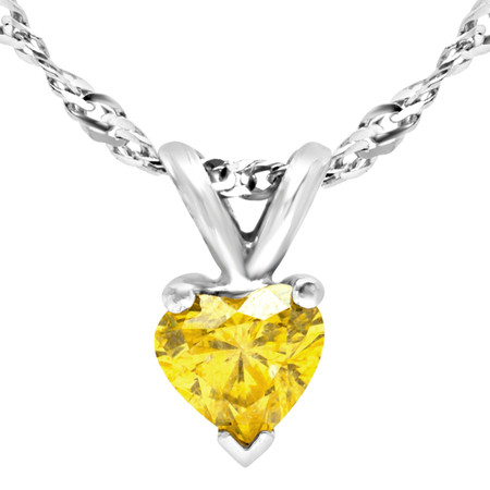 Heart Cut Yellow Diamond Solitaire Pendant Necklace with Chain in White Gold - #H750-HEART-YELLOW-W