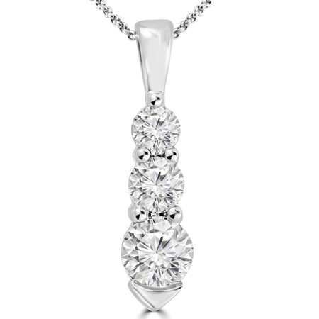 Round Cut Diamond Three-Stone Shared-Prong Pendant Necklace with Chain in White Gold - #HDP1757-W