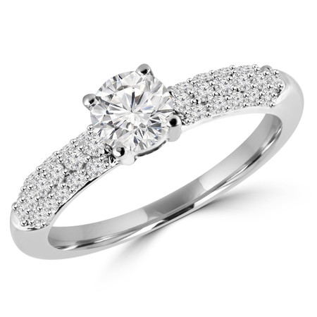 Round Cut Diamond Multi-Stone 4-Prong Engagement Ring with Round Diamond Pave Accents in White Gold - #HDR10070-W