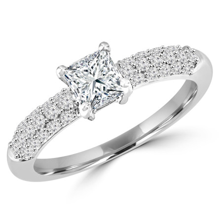 Princess Cut Diamond Multi-Stone 4-Prong Engagement Ring with Round Diamond Pave Accents in White Gold - #HDR10070-PR-W