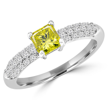 Princess Cut Yellow Diamond Multi-Stone 4-Prong Engagement Ring with Round Diamond Pave Accents in White Gold - #HDR10070-PR-YEL-W