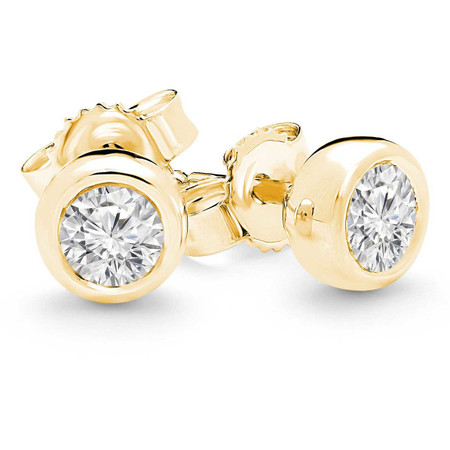 Round Cut Diamond Solitaire Bezel-Set Stud Earrings in Yellow Gold - #HE1512-Y