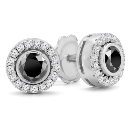 Round Cut Black Diamond Multi-Stone Bezel-Set Halo Vintage Stud Earrings with Round Diamond Accents in White Gold - #HE4892-BIG-BLK-W