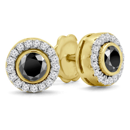 Round Cut Black Diamond Multi-Stone Bezel-Set Halo Vintage Stud Earrings with Round Diamond Accents in Yellow Gold - #HE4892-BIG-BLK-Y