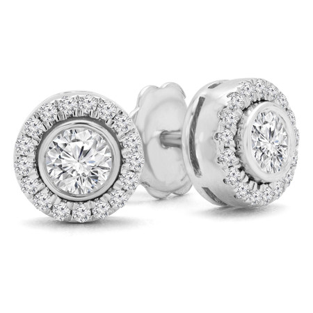 Round Cut Diamond Multi-Stone Bezel-Set Halo Vintage Stud Earrings with Round Diamond Accents in White Gold - #HE4892-BIG-W