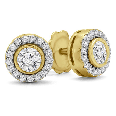 Round Cut Diamond Multi-Stone Bezel-Set Halo Vintage Stud Earrings with Round Diamond Accents in Yellow Gold - #HE4892-BIG-Y