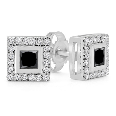 Princess Cut Black Diamond Multi-Stone Bezel-Set Halo Vintage Stud Earrings with Round Diamond Accents in White Gold - #HE4892-PR-BLK-W