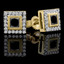 Princess Cut Black Diamond Multi-Stone Bezel-Set Halo Vintage Stud Earrings with Round Diamond Accents in Yellow Gold - #HE4892-PR-BLK-Y