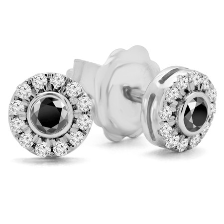 Round Cut Black Diamond Multi-Stone Bezel-Set Halo Vintage Stud Earrings with Round Diamond Accents in White Gold - #HE4892-SM-BLK-W