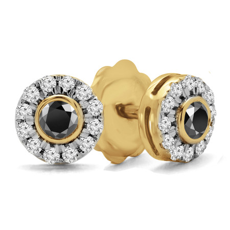 Round Cut Black Diamond Multi-Stone Bezel-Set Halo Vintage Stud Earrings with Round Diamond Accents in Yellow Gold - #HE4892-SM-BLK-Y