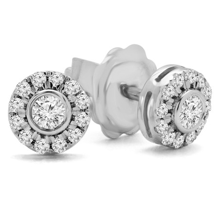 Round Cut Diamond Multi-Stone Bezel-Set Halo Vintage Stud Earrings with Round Diamond Accents in White Gold - #HE4892-SM-W