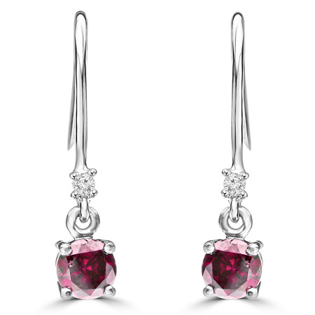Round Cut Pink Tourmaline Multi-Stone 4-Prong Drop Dangle Earrings with Round Diamond Accent in White Gold - #HE4894-PINK-TOURMALINE-W