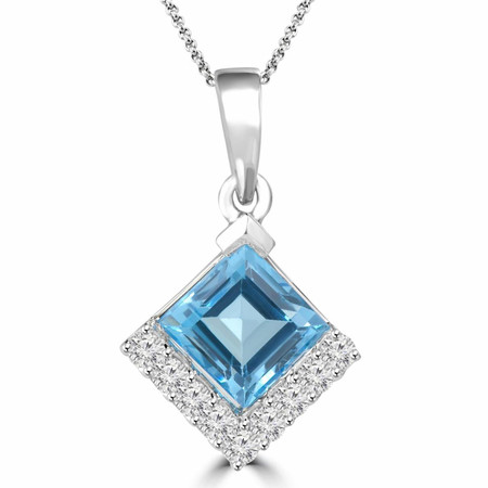 Emerald Cut Blue Topaz Multi-Stone Pendant Necklace with Round White Diamond Accents With Chain in White Gold - #HP4624-EMERALD-BLUE-TOPAZ-W