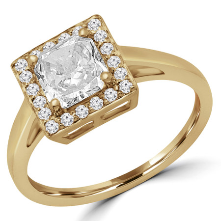 Radiant Cut Diamond Multi-Stone 4-Prong Halo Engagement Ring with Round Diamond Accents in Yellow Gold - #HR10069-RAD-Y