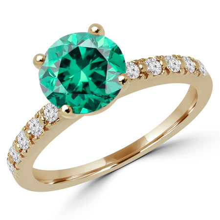 Round Cut Green Diamond 4-Prong Engagement Ring with Round White Diamond Accents in Yellow Gold - #HR10360-GREEN-Y