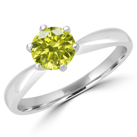 Round Cut Yellow Diamond Solitaire 6-Prong Tapered-Shank Engagement Ring in White Gold - #HR3368-YEL-W
