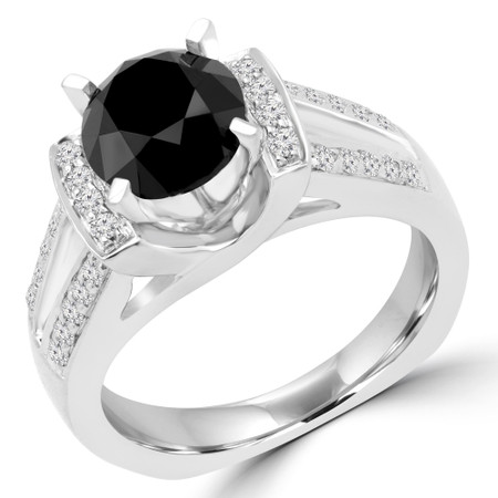 Round Cut Black Diamond Multi-Stone Split-Shank 4-Prong Vintage Engagement Ring with Round Diamond Accents in White Gold - #HR3656-BLK-W