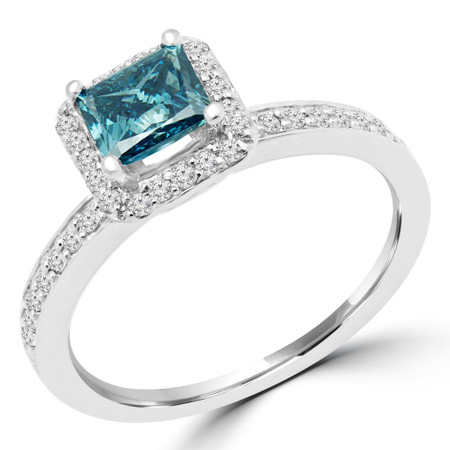 Princess Cut Blue Diamond Multi-Stone 4-Prong Vintage Halo Engagement Ring with Round Diamond Accents in White Gold - #HR4435-BLUE-W