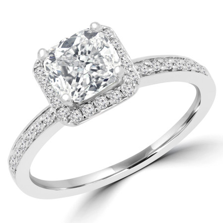 Cushion Cut Diamond Multi-Stone 4-Prong Vintage Halo Engagement Ring with Round Diamond Accents in White Gold - #HR4435-CU-W