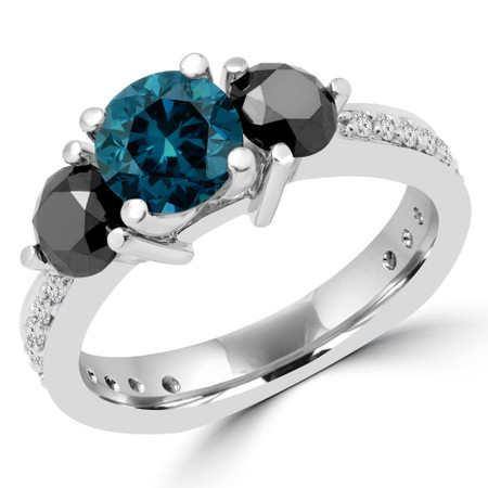 Round Cut Blue and Black Diamond Three-Stone 4-Prong Engagement Ring with Round Diamond Accents in White Gold - #HR4683-BLUE-BLK-W