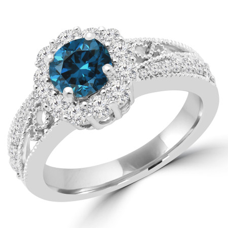 Round Cut Blue Diamond Multi-Stone Split-Shank 4-Prong Vintage Trellis-Halo Engagement Ring with Round Diamond Accents in White Gold - #HR4743-BLUE-W
