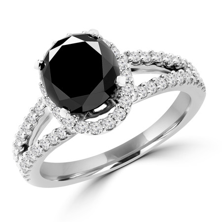 Oval Cut Black Diamond Multi-Stone Split-Shank 4-Prong Halo Vintage Engagement Ring with Round Diamond Accents in White Gold - #HR6196-OV-BLK-W