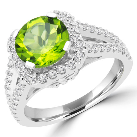 Round Cut Green Peridot Multi-Stone Split-Shank 4-Prong Halo Vintage Engagement Ring with Round White Diamond Accents in White Gold - #HR6200-GREEN-PERIDOT-W