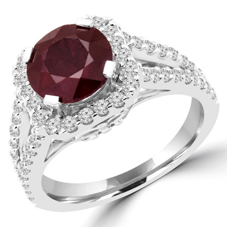 Round Cut Red Ruby Multi-Stone Split-Shank 4-Prong Halo Vintage Engagement Ring with Round White Diamond Accents in White Gold - #HR6200-RED-RUBY-W