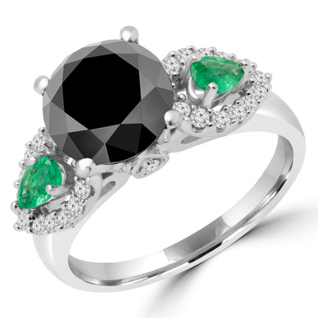 Round Cut Black Diamond & Pear Cut Green Emerald Three-Stone 4-Prong Engagement Ring with Round White Diamond Accents in White Gold - #HR6214-BLK-GREEN-W