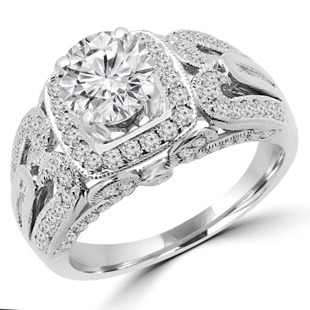 Round Cut Diamond Multi-Stone 4-Prong Vintage Halo Engagement Ring with Round White Diamond Accents in White Gold - #HR6216-A-W
